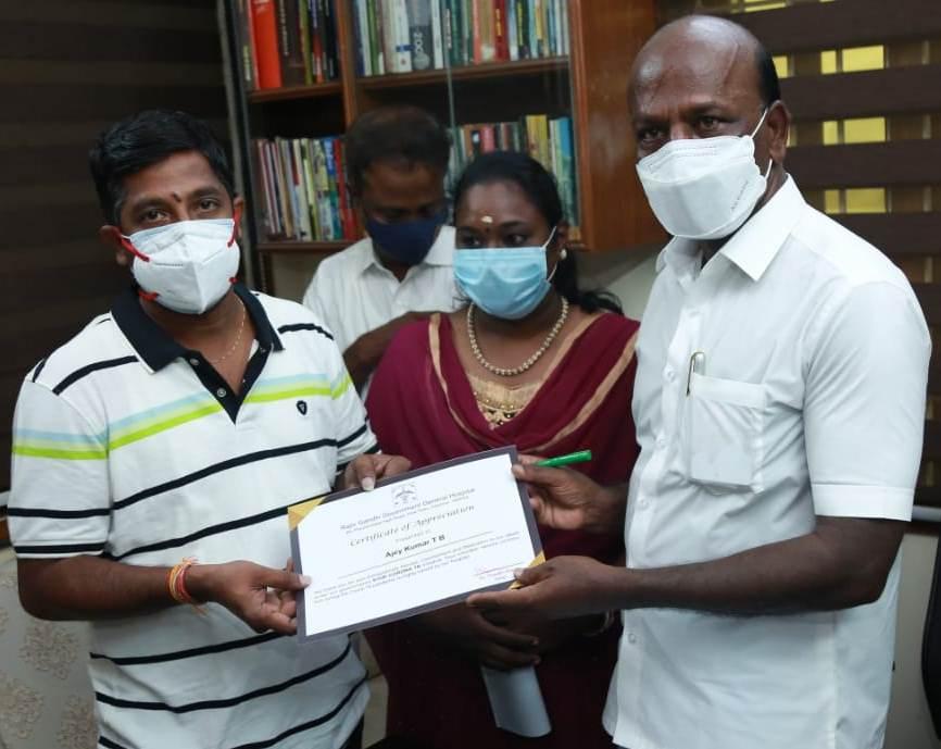 Receives certificate of appreciation